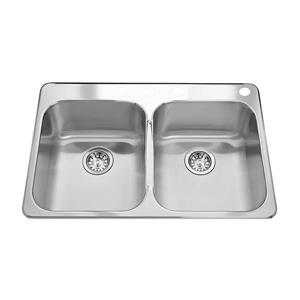 Kindred 31.25-in Silver Stainless Steel Double Sink