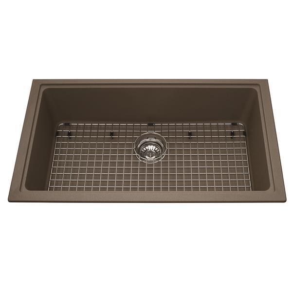 Kindred Franke 31.56-in X 18.13-in Brown Granite Single Sink