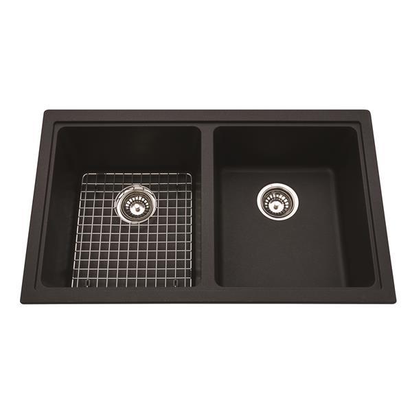 "Évier double Franke, 33"" x 19,38"", granit, noir"