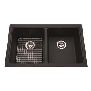 Kindred Granite Black Franke Double Sink 33-in X 19.38-in