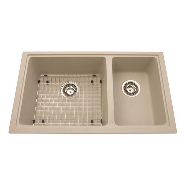 Kindred Granite Black Franke Double Sink 31.56-in X 18.13-in