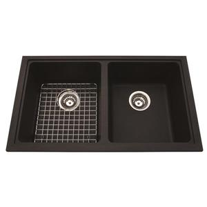 Kindred Granite Black Franke Double Sink 31.56-in x 18.13-in