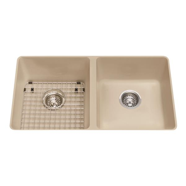 Kindred Granite Champagne Franke Double Sink 31.56-in X 18.13-in