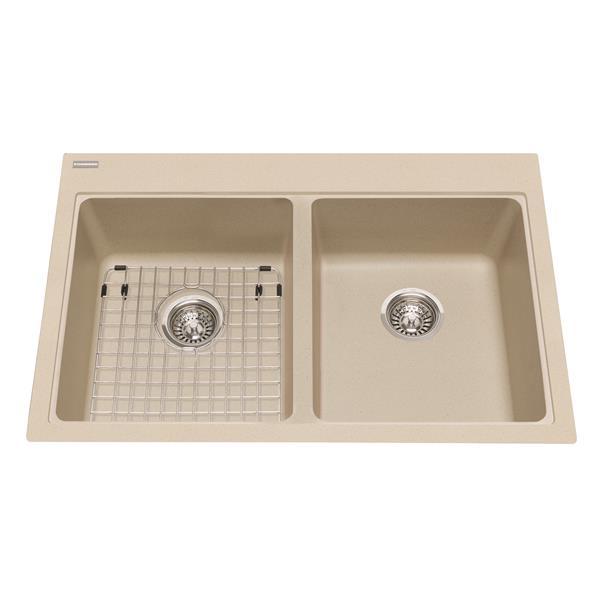 Kindred Franke 22-in X 33-in Champagne Granite Double Sink