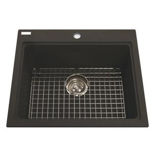 Kindred Franke 23.50-in X 20.50-in Black Granite Single Sink