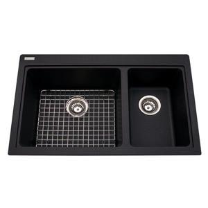 Évier de cuisine double Franke, granite noir, 20,5 po