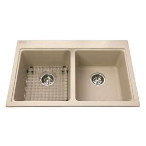 Kindred Granite Champagne Franke Double Sink 31.56-in X 20.5-in