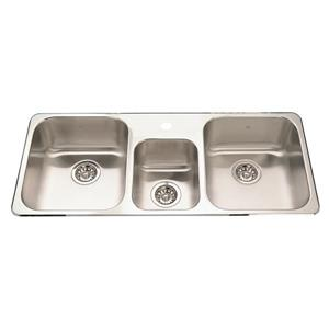 Kindred Steel Queen Topmount 41.63-in x 18.13-in Stainless Steel Triple Kitchen Sink