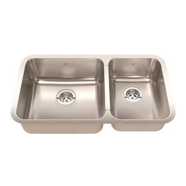 Kindred Steel Queen Undermount 32.88-in x 18.75-in Double Offset Kitchen Sink