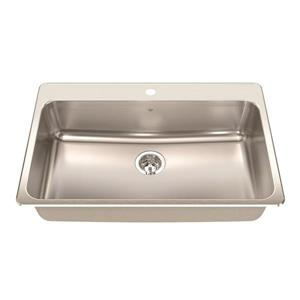 Kindred Steel Queen Topmount 33.38-in x 22-in Stainless Steel Single Kitchen Sink with Faucet Ledge