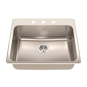 Kindred Steel Queen Topmount 25.25-in x 22-in Stainless Steel Single Kitchen Sink