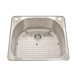 Kindred Steel Queen Topmount 23.38-in x 20.88-in Stainless Steel Single Kitchen Sink