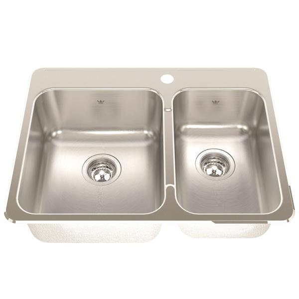 Kindred 27.25-in Silver Stainless Steel Double Sink