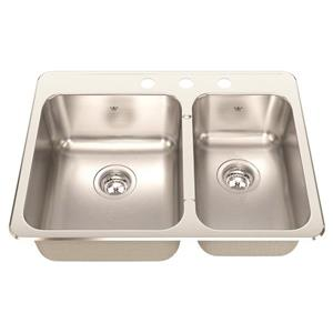 Kindred 27.25-in x 20.56-in Stainless Steel Double Sink