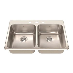 Kindred 33.38-in x 22-in Stainless Steel Double Sink