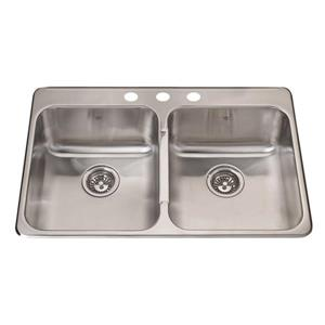 Kindred 31-in x 20.5-in Stainless Steel Double Sink