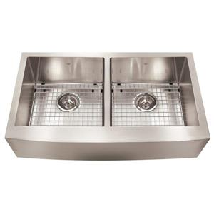 Kindred Designer Series 35.88-in x 20-in Stainless Steel Double Bow Apron Front Farmhouse Sink
