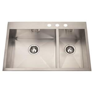 Kindred Stainless Steel Chrome Franke Double Sink 20-in