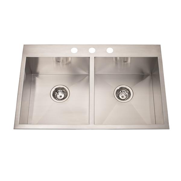 Kindred Stainless Steel Chrome Franke Double Sink 31-in