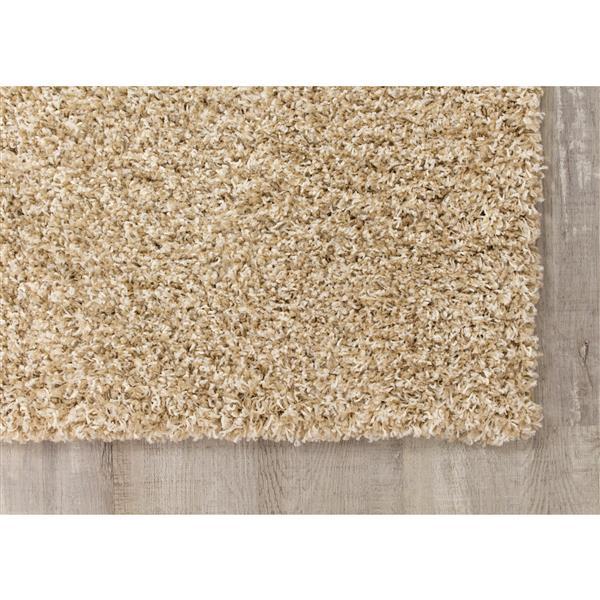 Tapis Shaggy solide de Kalora, 8' x 11', taupe/beige