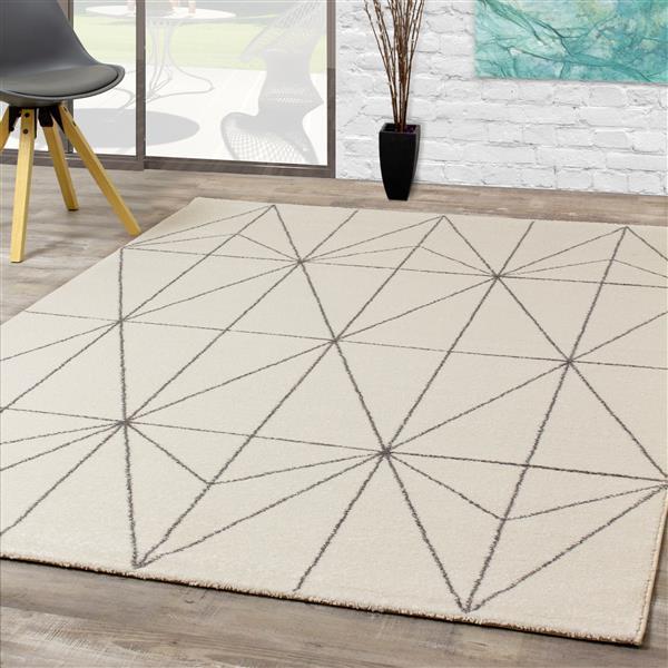Tapis Spring géométrique de Kalora, 5' x 8', gris