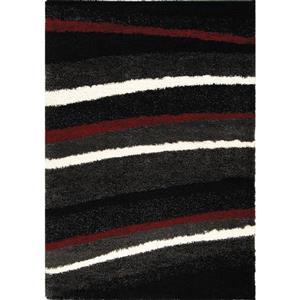 Tapis Shaggy rayures de Kalora, 8' x 11', charbon