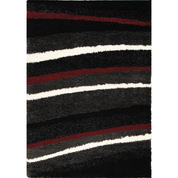 Tapis Shaggy rayures de Kalora, 5' x 8', charbon