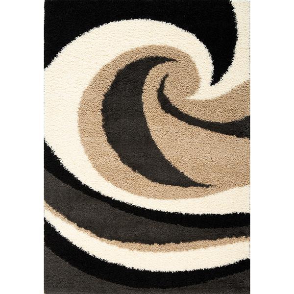 Tapis Shaggy vagues de Kalora, 5' x 8', beige