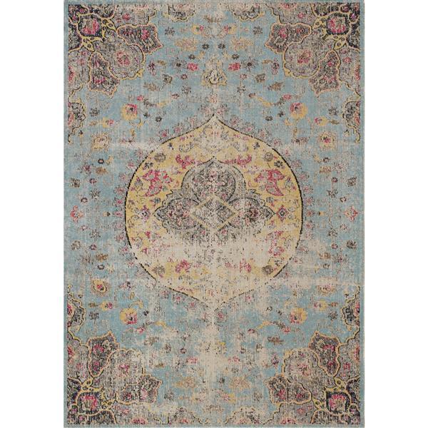 Tapis Sara délavée de Kalora, 5' x 8', bleu