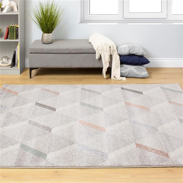 Tapis Safi triangles de Kalora, 8' x 11', gris