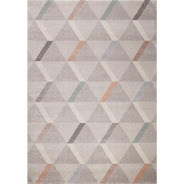Tapis Safi triangles de Kalora, 5' x 8', gris