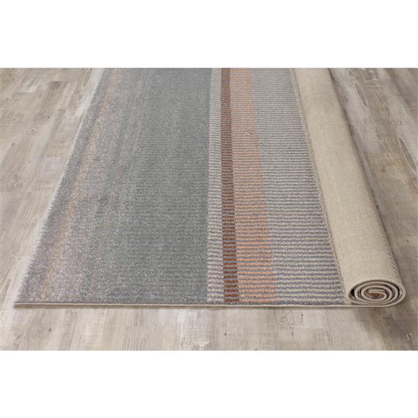Tapis Safi avec lignes de Kalora, 8' x 11', gris