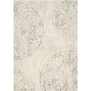 Tapis Safi à motif médaillon de Kalora, 5' x 8', blanc
