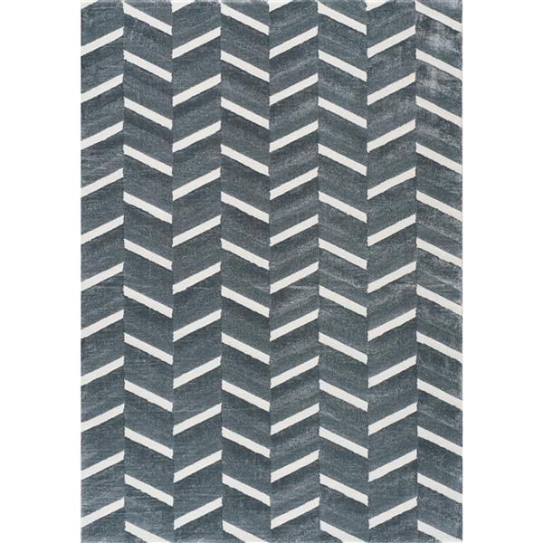 Tapis Sabine chevron bleu crème de Kalora, 8' x 11', gris