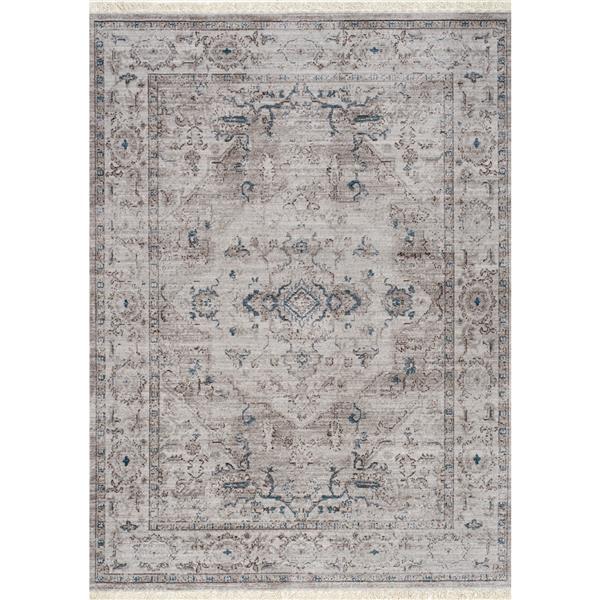 Tapis à franges Promenade de Kalora, 5' x 8', gris
