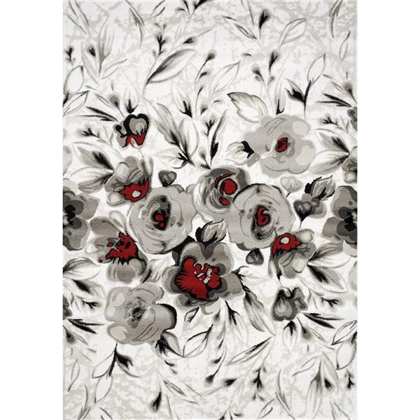 Tapis Platinum rosier de Kalora, 8' x 11', blanc