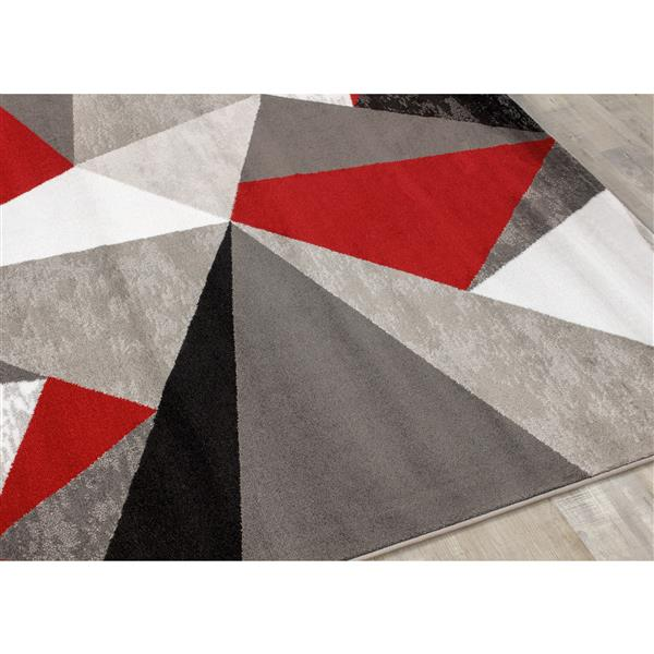 Tapis Platinum triangles de Kalora, 7' x 10', rouge