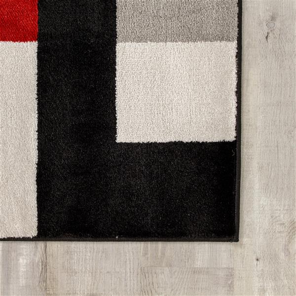 Tapis Platinum blocs de Kalora, 3' x 5', rouge