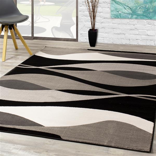 Tapis Platinum congère de Kalora, 8' x 11', noir