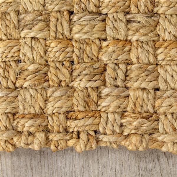 Tapis jute tressé naturel de Kalora, 3' x 5', beige