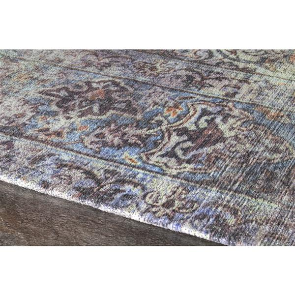 Tapis délavée traditonnel Morello de Kalora, 5' x 8', bleu
