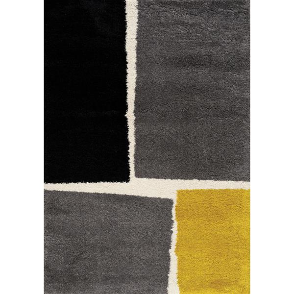 Tapis à motif carrés Maroq de Kalora, 8' x 11', gris