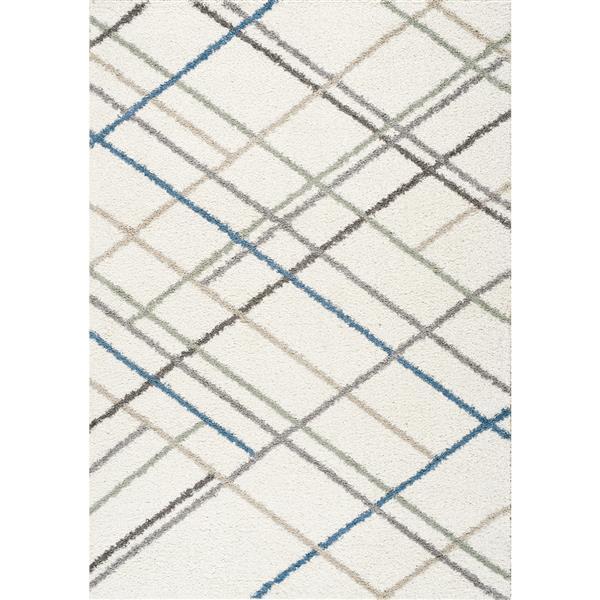 Tapis lignes croisée Mona de Kalora, 5' x 8', crème