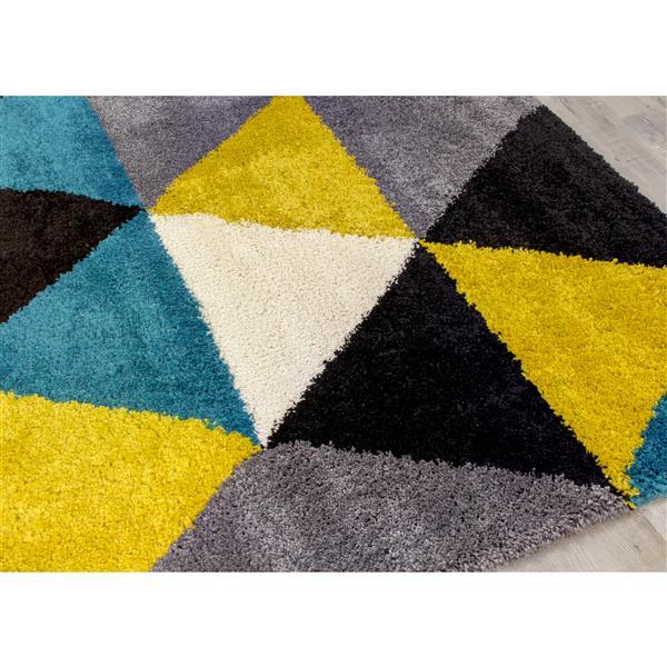 Tapis à triangles colorés Maroq de Kalora, 7' x 10', jaune