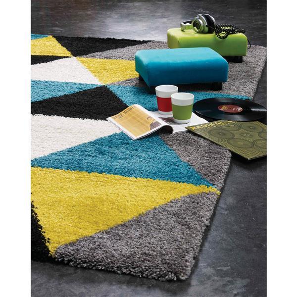 Tapis à triangles colorés Maroq de Kalora, 2' x 4', jaune