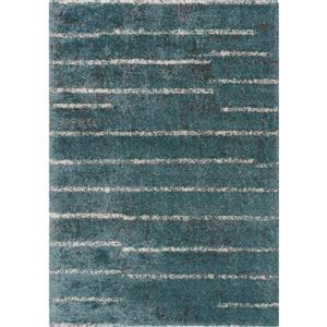 Tapis à bandes irrégulières Maroq de Kalora, 5' x 8', bleu