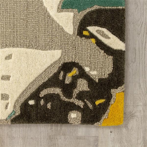 Tapis fait main Kaleido de Kalora, 5' x 8', gris