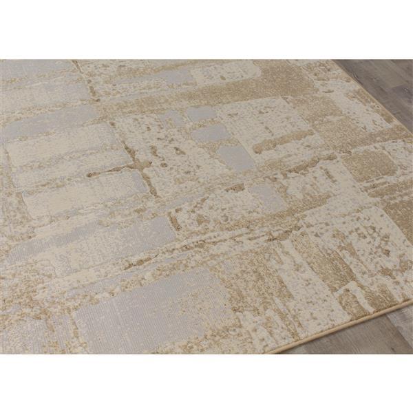 Tapis hiéroglyphiques Intrigue de Kalora, 5' x 8', crème