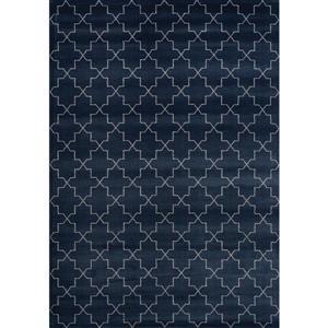 Tapis quartefeuille Infinity de Kalora, 5' x 8', bleu marin