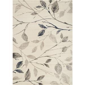 Tapis feuilles Infinity de Kalora, 5' x 8', crème